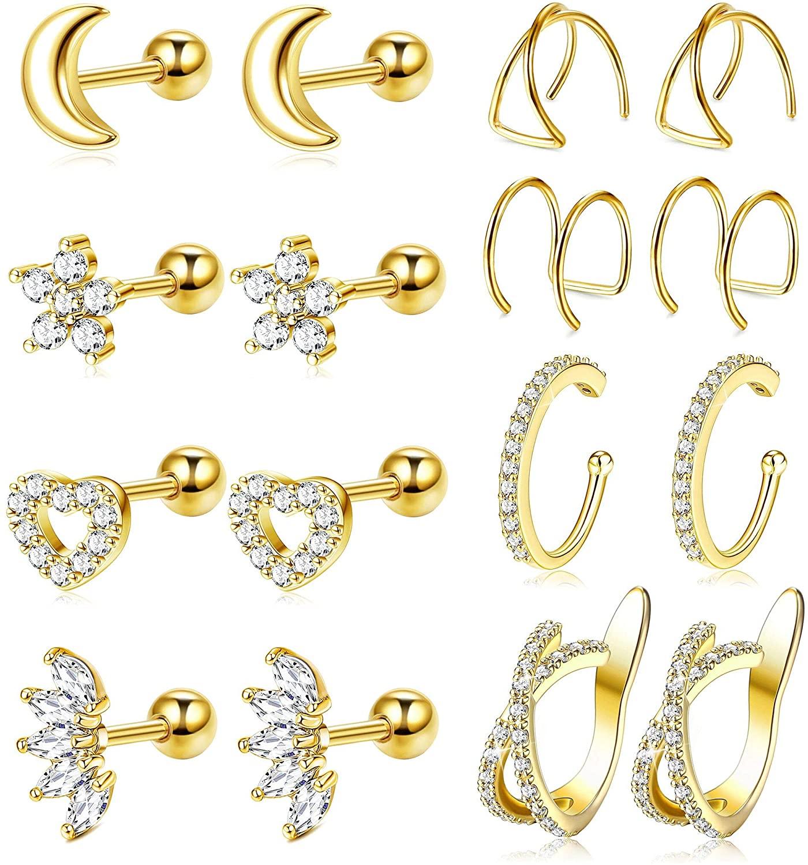 JOERICA 8 Pairs Cartilage Stud Earrings Set for Women Cubic Zirconia Piercing Jewelry Tragus Helix Ear Cuff Clip on Cartilage Earrings