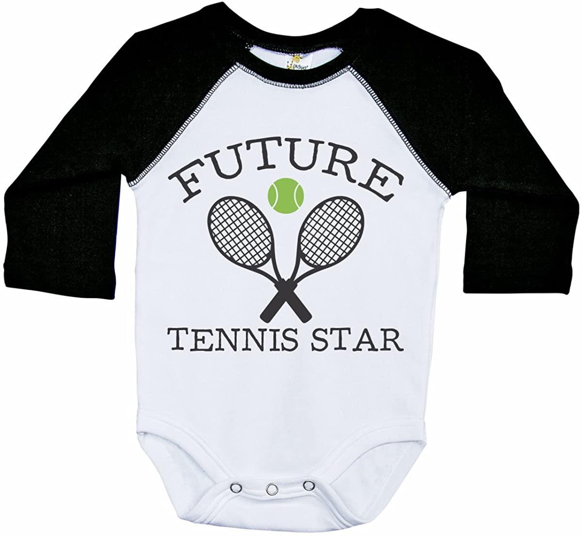 Tennis Baby Long Sleeve Raglan Onesie/Future Tennis Star/Sports Bodysuit