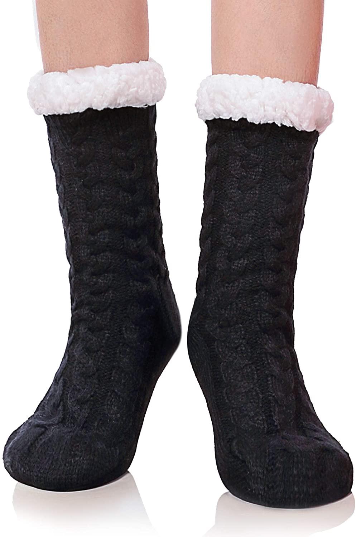 DYW Women's Slipper Socks Winter Thermal Fleece Lining Knit Fuzzy Cozy Non Slip Socks