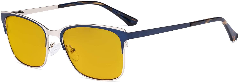 Eyekepper Blue Light Glasses - Design Digital Eyeglasses for Women Blocking Computer Screen UV Rays - Anti Glare Filter Reduce Eye Strain Amber Filter - Blue