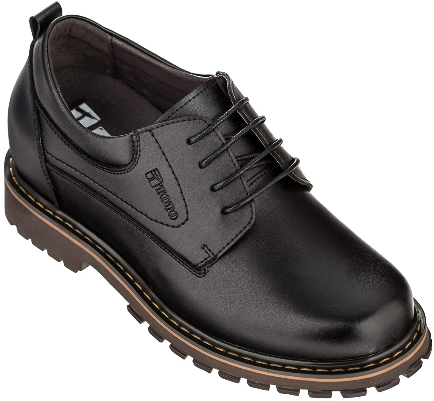 TOTO Men's Invisible Height Increasing Elevator Shoes - Black Leather Lace-up Round-Toe Casual - 3 Inches Taller - F70289