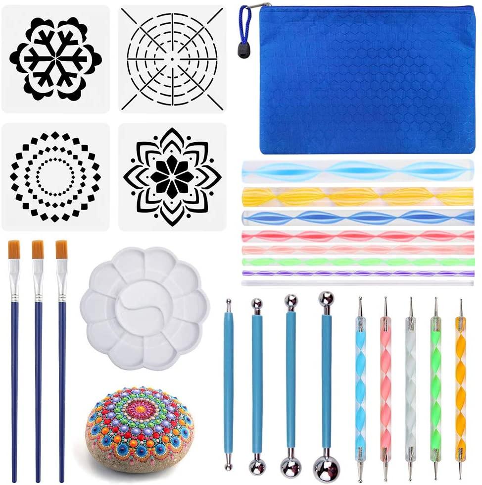 25PCS Mandala Dotting Tools Set, Pen Dotting Painting Tools Brushes Mandala Stencil Kit Ball Stylus with a Waterproof Storage Bag for Rocks Painting Nail Dotting Art Drawing DIY Coloring