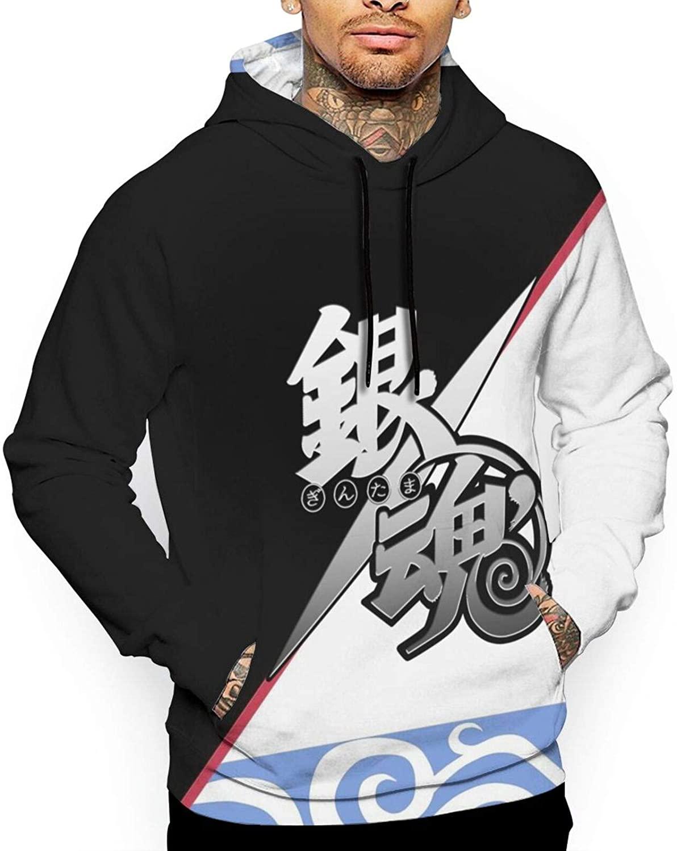 Mens Gintama Hoodies with Pocket 3D Print Cosplay Anime Costume Sweatshirts Gifts for Christmas