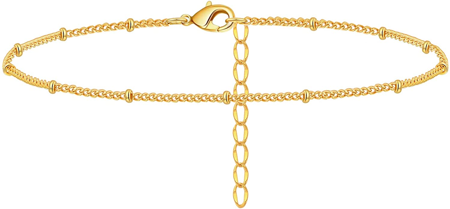 Estendly Dainty Anklet 14K Gold Plated Adjustable Chain Ankle Bracelet Jewelry Gift for Women