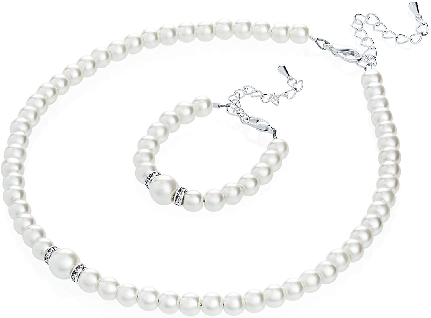 Crystal Dream Elegant White Simulated Pearl Necklace and Bracelet Stylish Gift Set Women & Children (GS-P-W-All)