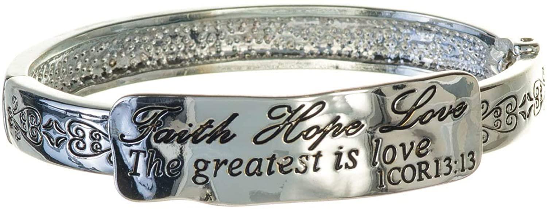 Jewelry Nexus 1 Corinthians 13:13 Scripture Heart Engraved Hinge Cuff Bracelet