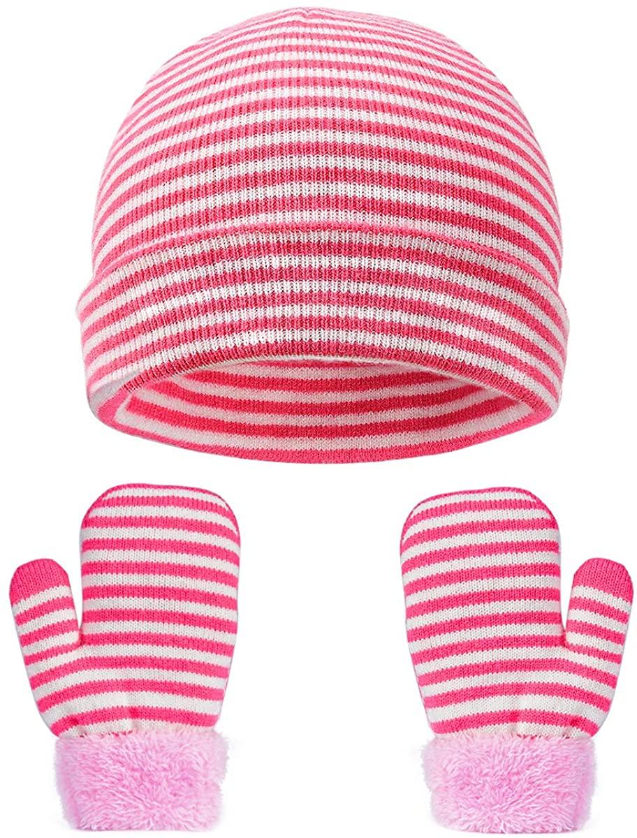 VBIGER Kids Winter Hats Gloves Set Knit Beanie Mittens for Baby Toddler Children
