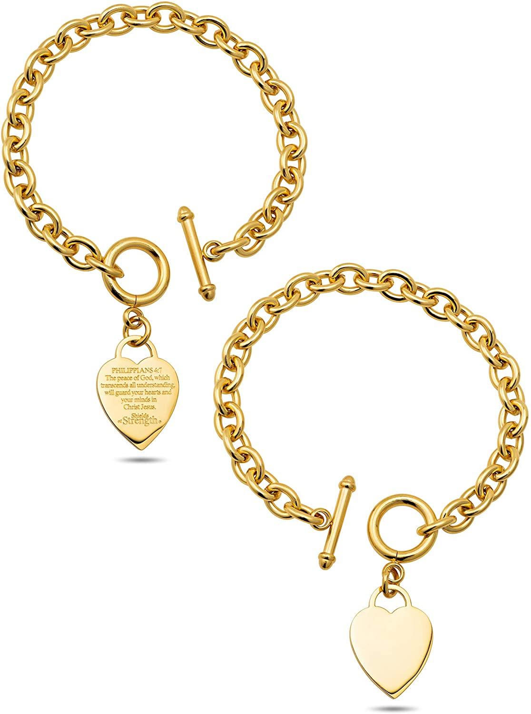 Stainless Steel Gold Heart Chain Bracelet