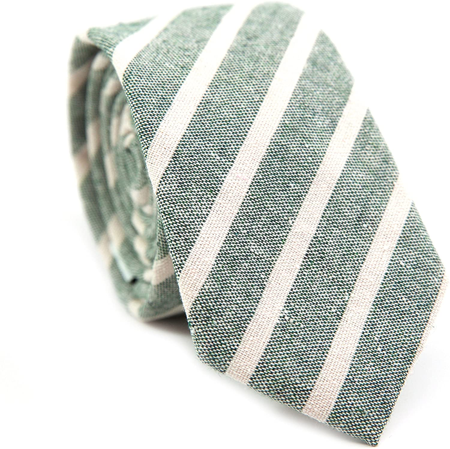 DAZI Men's Skinny Tie, Cotton Wool Linen Necktie, Great for Weddings, Groom, Groomsmen, Missions, Dances, Gifts.