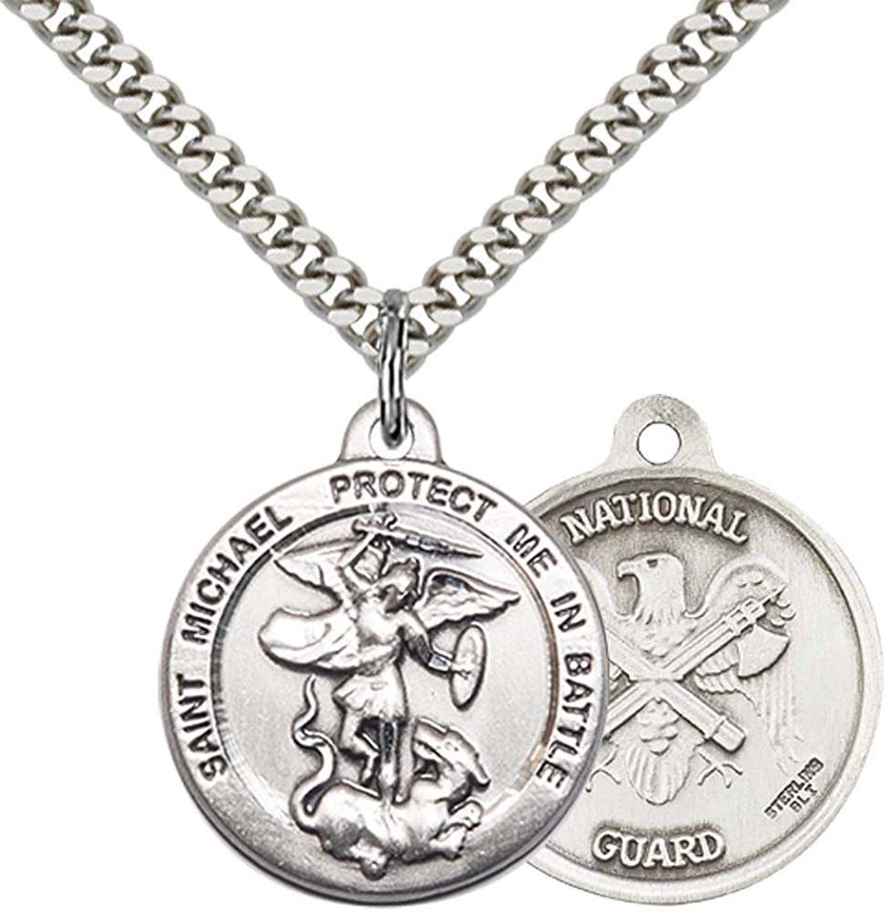 Sterling Silver St. Michael the Archangel Pendant with 24 Stainless Steel Heavy Curb Chain. Patron Saint of Police Officers/EMTs