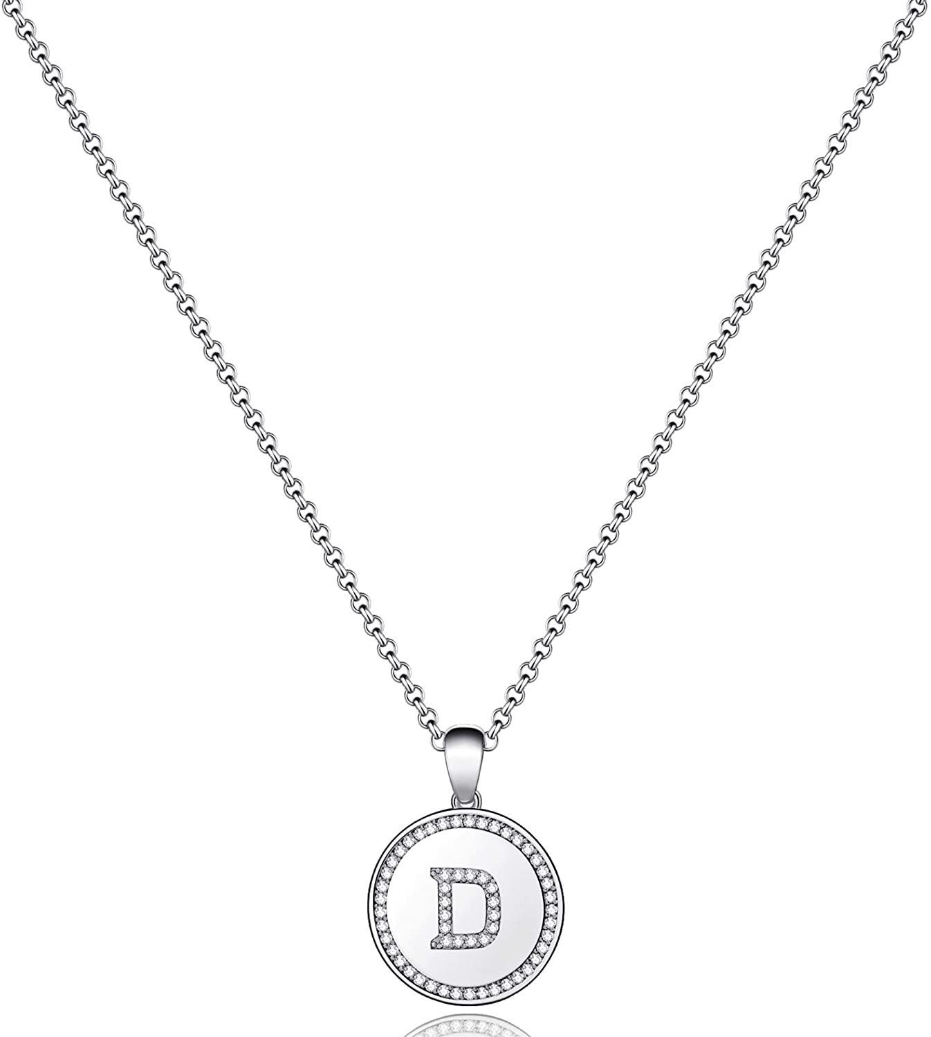 MONOZO Disc Initial Necklace for Women, 14k Gold Filled CZ Initial Letter Pendant Necklace Dainty Disc A-Z Alphabet Necklace Jewelry Gifts for Women Teen Girls