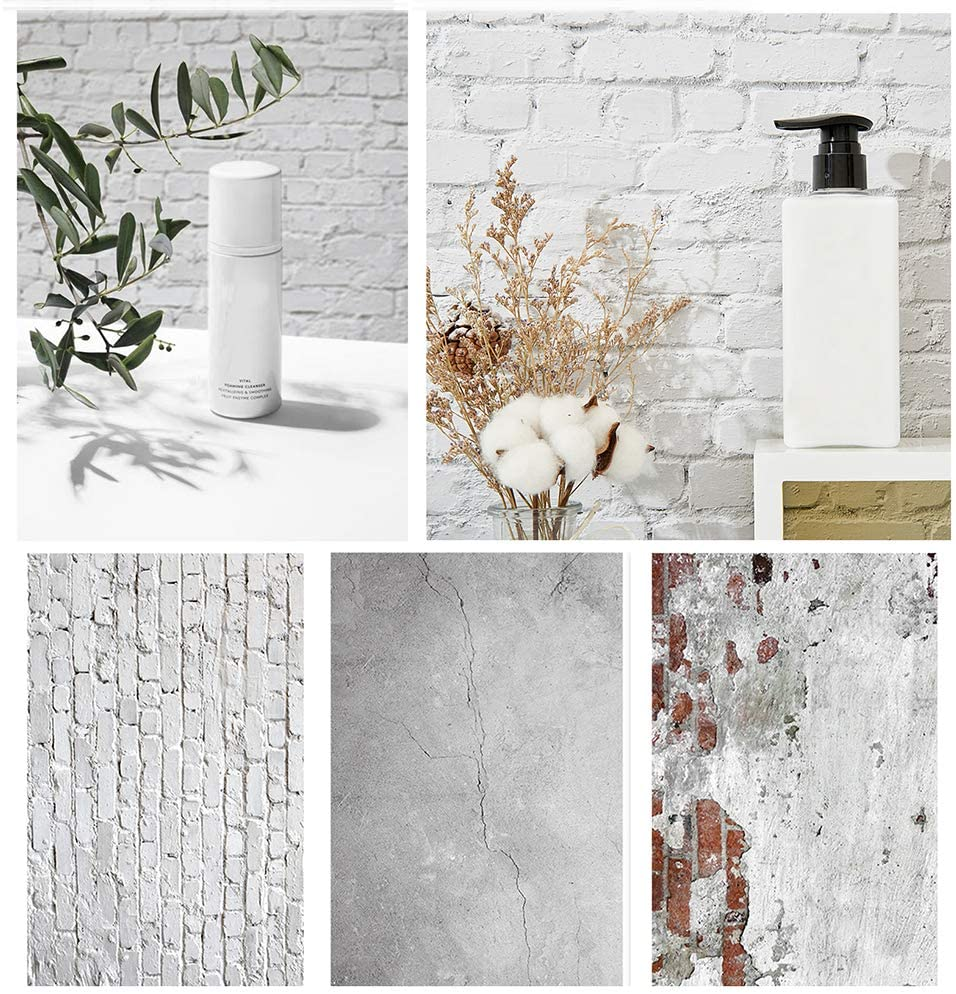 Bcolor Brick Wall Backdrop Photography Paper 3 Pack Kit 22x34Inch/ 56x87cm Flatlay Photo Background Double Sided for Food Product Jewelry Photoshoot Tabletop Pictures Props, 6 Pattern