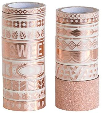 Foil Rose Gold Washi Tape Patterned Glitter 16 Rolls