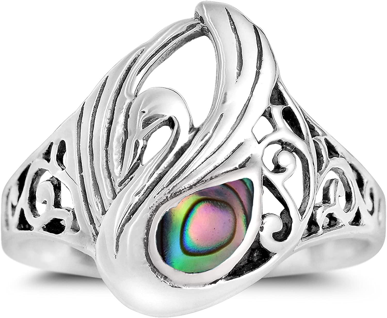 AeraVida Majestic Swirl Swan Abalone Shell Wings .925 Sterling Silver Ring