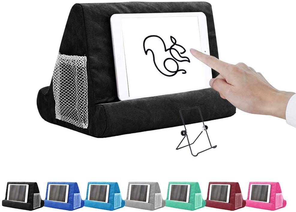 N/G Multi-Angle Soft Pillow for ipads, Phone Pillow Lap Stand Tablet Stand, Universal ipad Tablet Reading Stand Pillow Holder for ipads, Tablets, EReaders, Smartphones, Books, Magazine Black