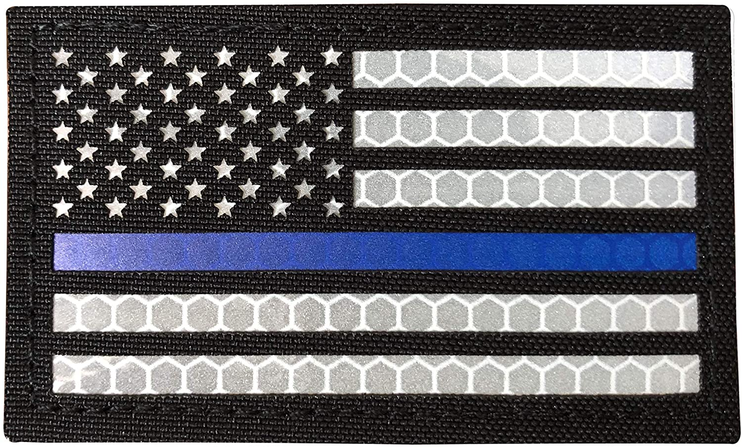 SUVIYA 3.5x2 Inch Solas Reflective Thin Blue Line US USA American Flag Police Patch with Hook and Loop