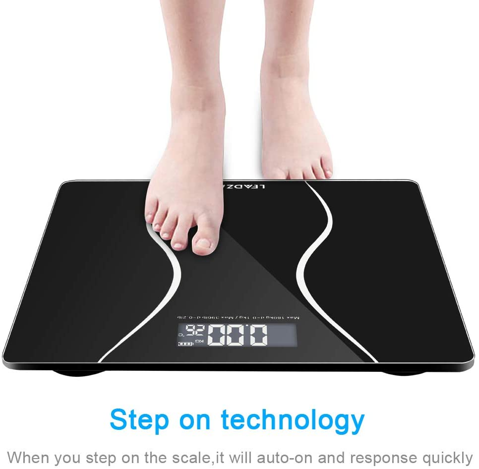 LEADZM Digital Body Weight Bathroom Scale 180Kg Slim Waist Pattern Personal Scale, High Precision Measurements, 397 Pounds