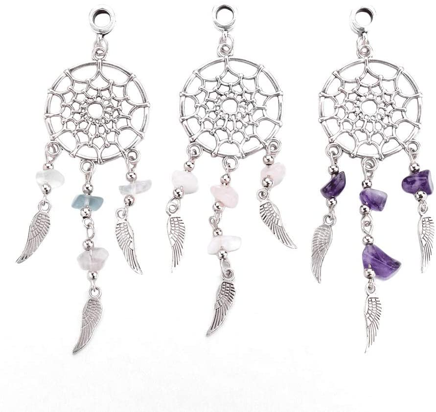 PH PandaHall 30pcs Dangling Dream Catcher Charm Pendants Dreamcatcher Feather Filigree Ethnic Ornament for Keyring Necklace Jewelry Making