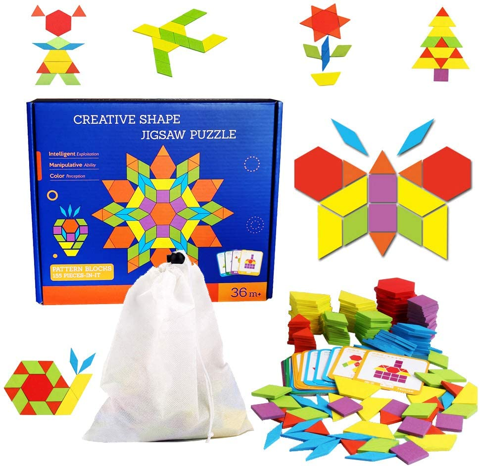 155 Pcs Wooden Pattern Blocks Set Shape Jigsaw Puzzles Brain Teasers Tangrams Stacking Sorting Games Early Educational Learning Challenge IQ Toy Gift for Kid Toddlers Age 3+ Years Old