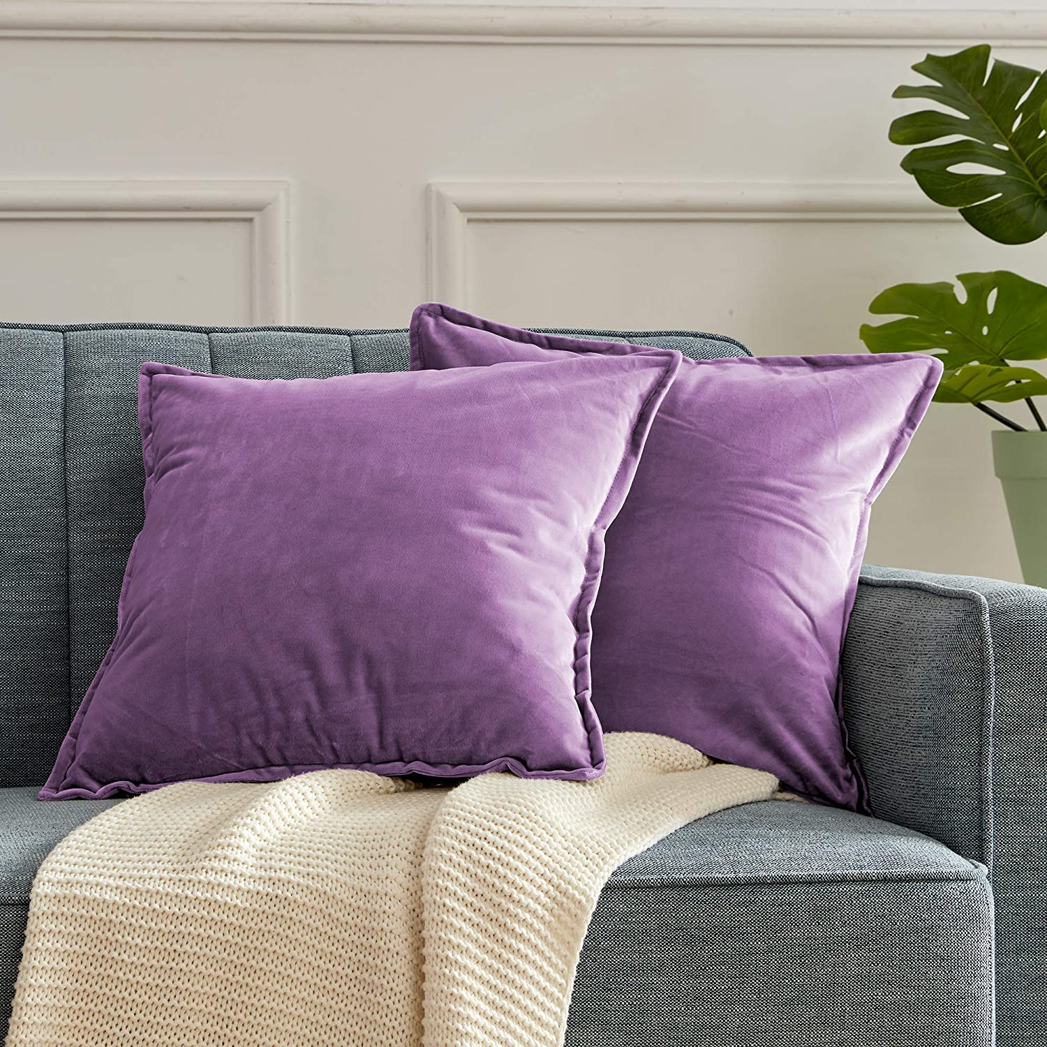 SLEEP ZONE Set of 2 Velvet Throw Pillow Covers Decorative Square Pillowcase Soft Solid Cushion Case for Couch Sofa Bed Chair, 18 x 18 inch, Purple