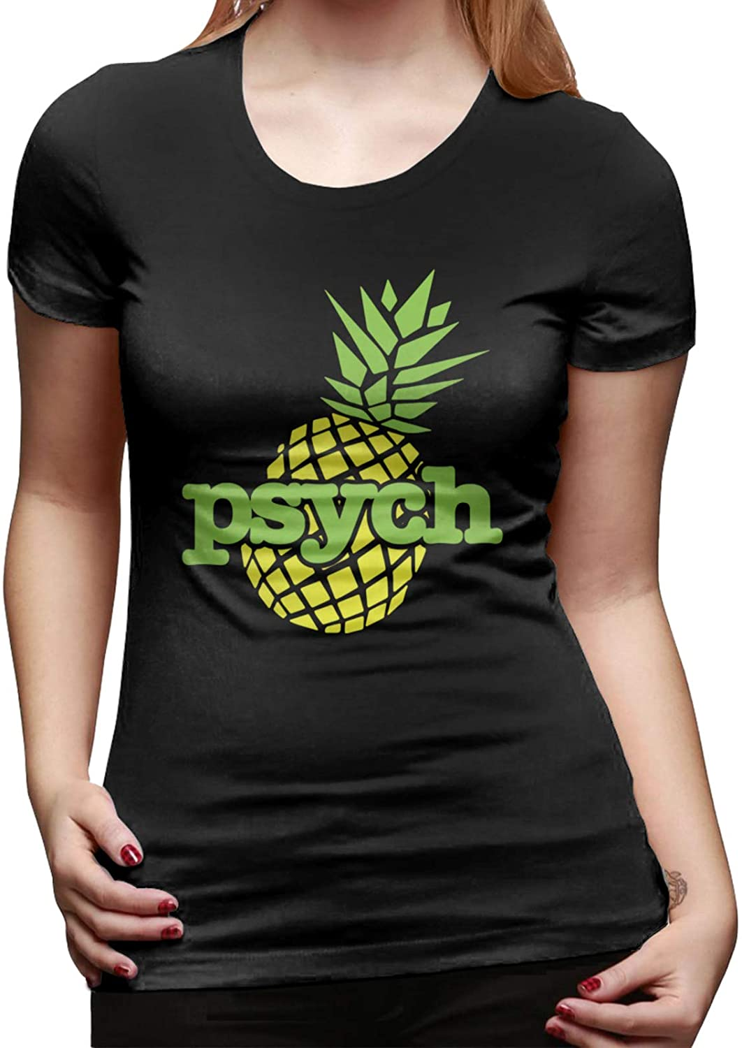 Psych Pineapple Women Short Sleeve Soft Crew Neck Tee Shirts