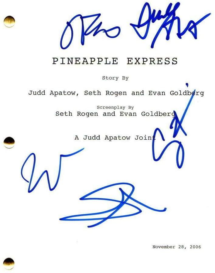Seth Rogen, James Franco +2 Cast Signed Autograph Pineapple Express Movie Script - Movie Scripts