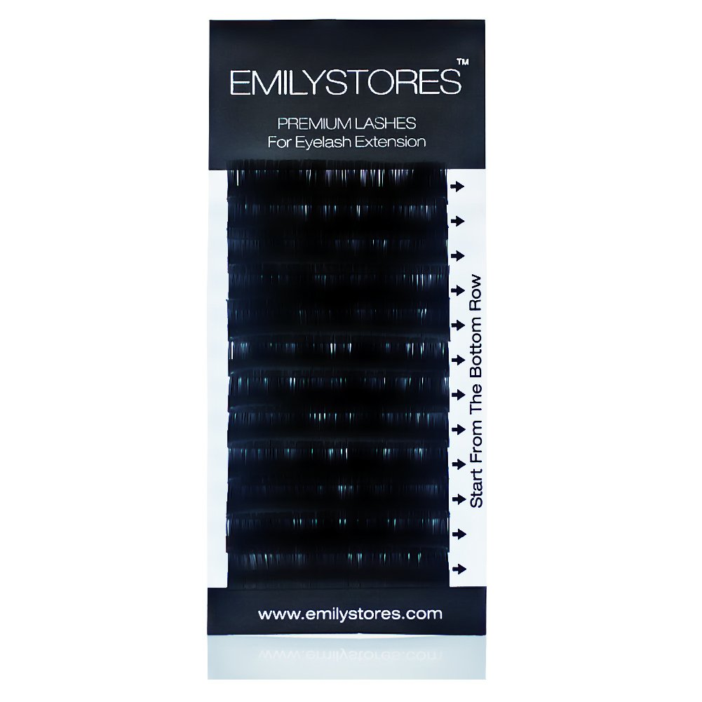 EMILYSTORES Eyelash Extensions 0.15mm Thickness J Curl Length 12mm Silk Mink Fake Eye Lashes In One Tray
