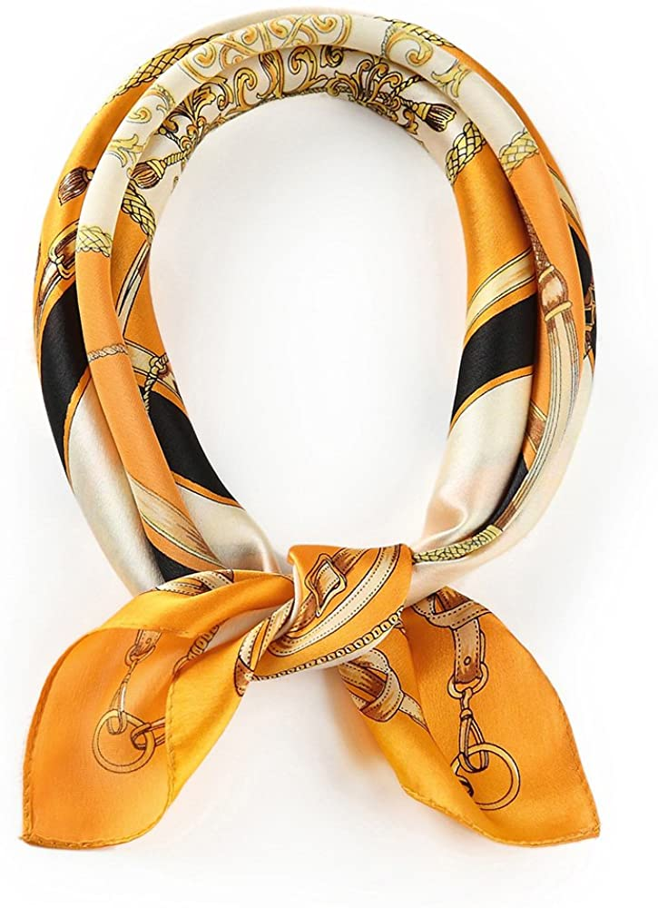 100% Real Mulberry Silk Scarf -21 x 21- Lightweight Neckerchief –Women Men Small Square Digital Printed Scarves
