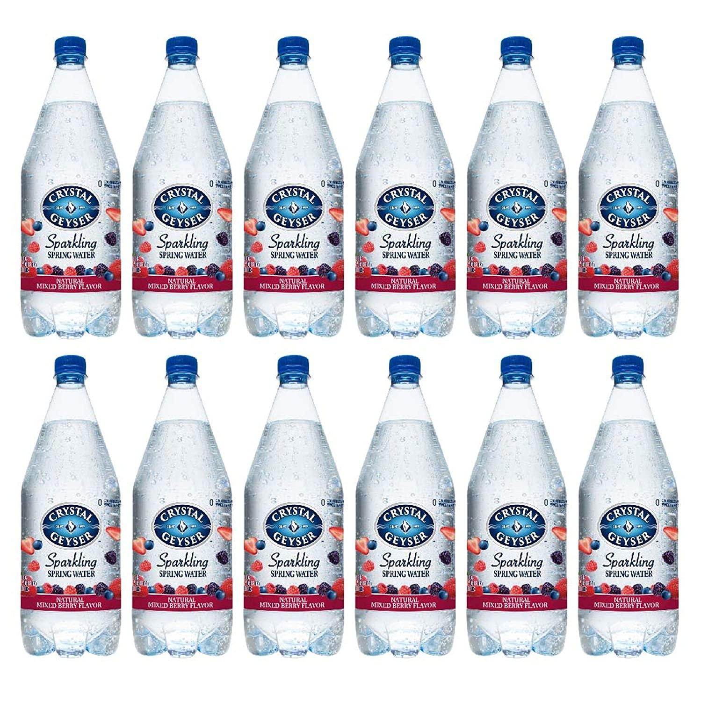 Crystal Geyser Mixed Berry Sparkling Spring Water PET Plastic Bottles, BPA Free, No Artificial Ingredients or Sweeteners, 42 Fl Oz, 12 Pack