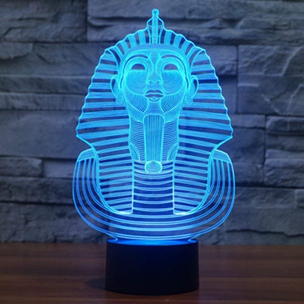Egyptian Pharaoh 3D Night Lights - Optical Illusion lamp Have a 7 Color Changing led nightlight Using Smart-Touch
