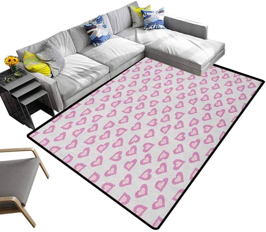 Home Decor Carpet Teen, Extra Soft and Comfy Carpet First Love Valentines First Date Inspired Vivid Young Hearts Inner Details Print for Dining Room Home Bedroom Lavander Purple, 6.5 x 10 Feet