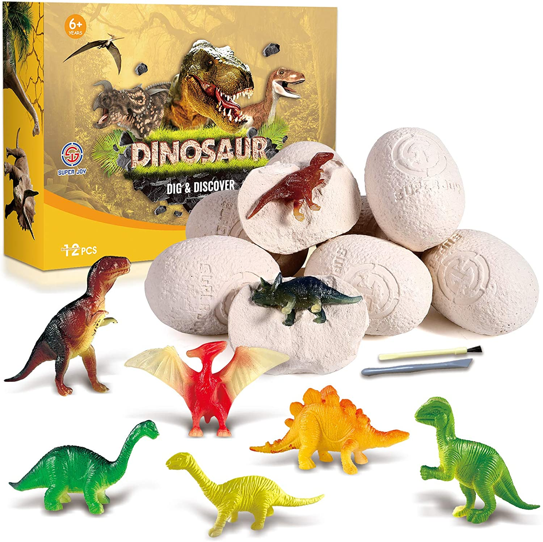 AOKESI 12 Dino Eggs Dig Kit Discover Dinosaur Toys for Kids 12 Dinosaur Fossil Eggs Dino Eggs Excavation Set Birthday for Boys 3 4 5 6 7 8-12