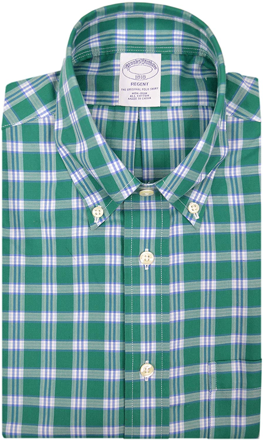 Brooks Brothers Mens 51613 Regent Fit All Cotton The Original Polo Button Down Shirt Green White Square Plaid