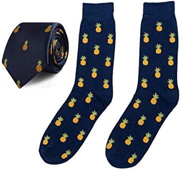 Pineapple Socks & Tie Combo Gift for Men   Pineapple Ties for Him Fruit Lover Fruits Farmer Ties for Men Pine Apple Socks   Groomsmen Bundle