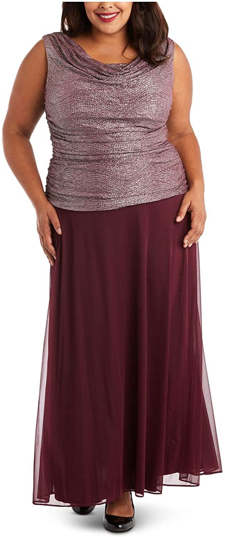 R&M Richards Womens Purple Sleeveless Cowl Neck Maxi Fit + Flare Formal Dress Size 14W