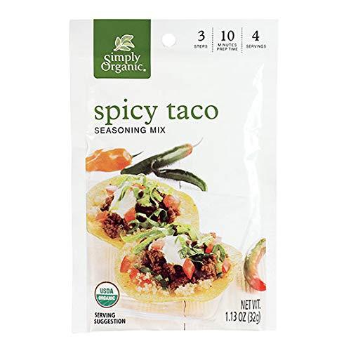 Simply Organic Spicy Taco Seasoning, Certified Organic, Gluten-Free   1.13 oz   Pack of 12