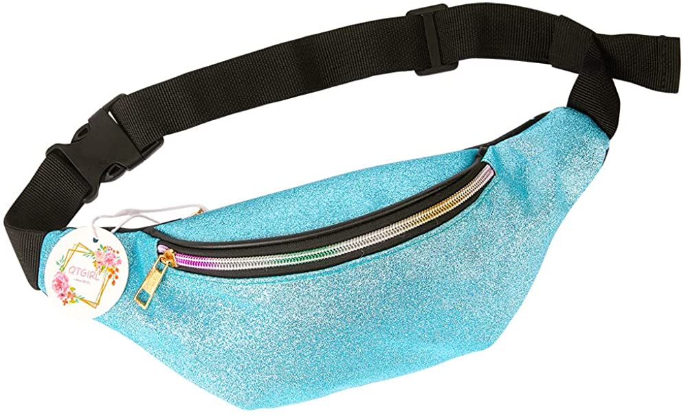 QtGirl Fanny Pack for Kids, Glitter Waist Bag Shiny Bags with Adjustable Belt for Children Sport Running, Camping, Trip