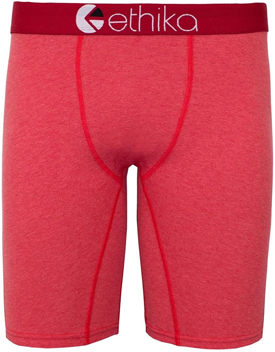 Ethika Mens The Staple Heathers Boxers Underwear Small Red Heather