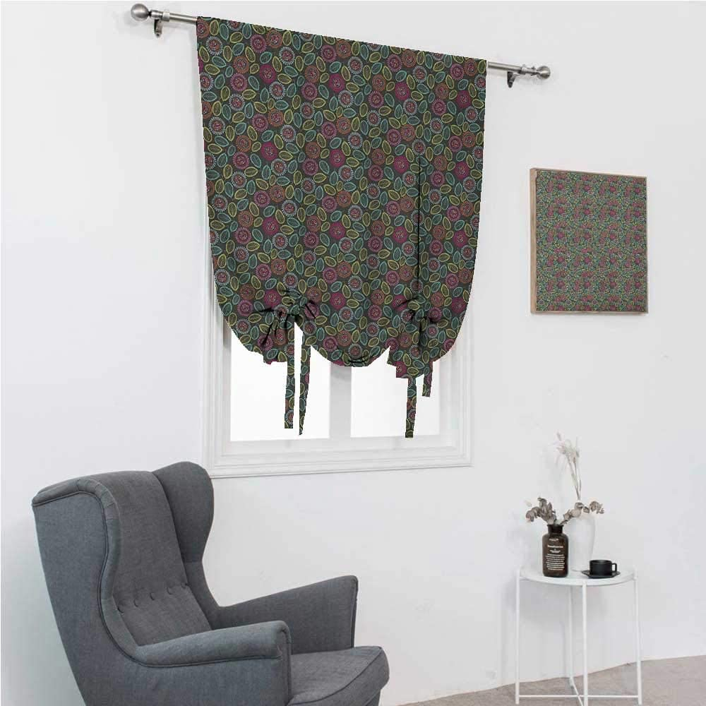 GugeABC Drapes for Bedroom Flower Tie Up Shades for Windows Hand Drawn Abstract Foliage with Colorful Dots and Blooms Coming of The Spring Theme 35
