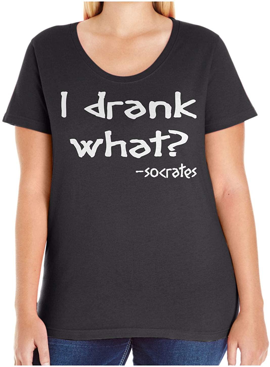 HARD EDGE DESIGN Women's I Drank What (Socrates) Plus Size Scoop Neck T-Shirt, Size 1, Black