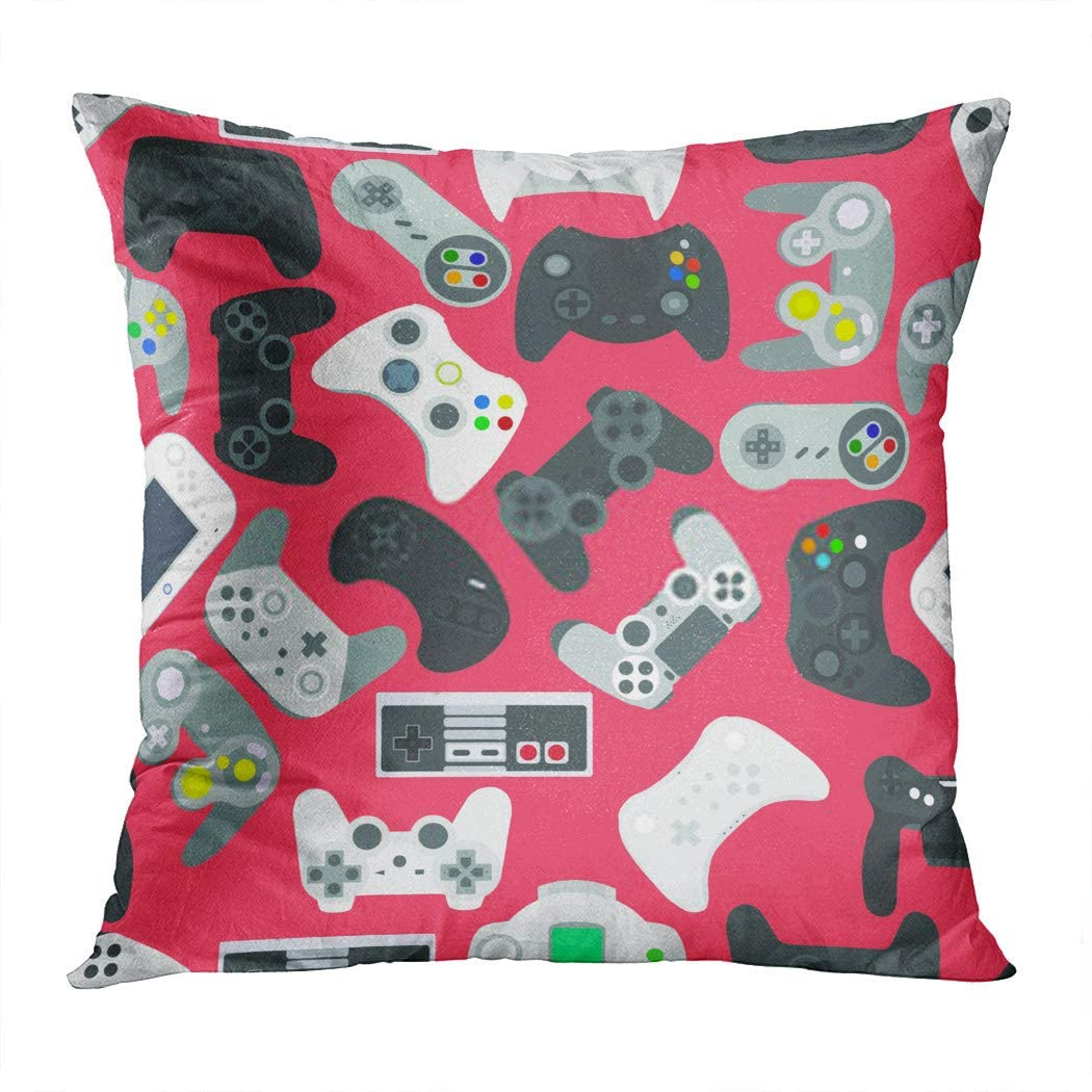 Docady Square Pillowcase Video Game Controller Gadgets Seamless Colored Living Coral Decorative Cushion Cover Printing Home Sofa Room Bedroom
