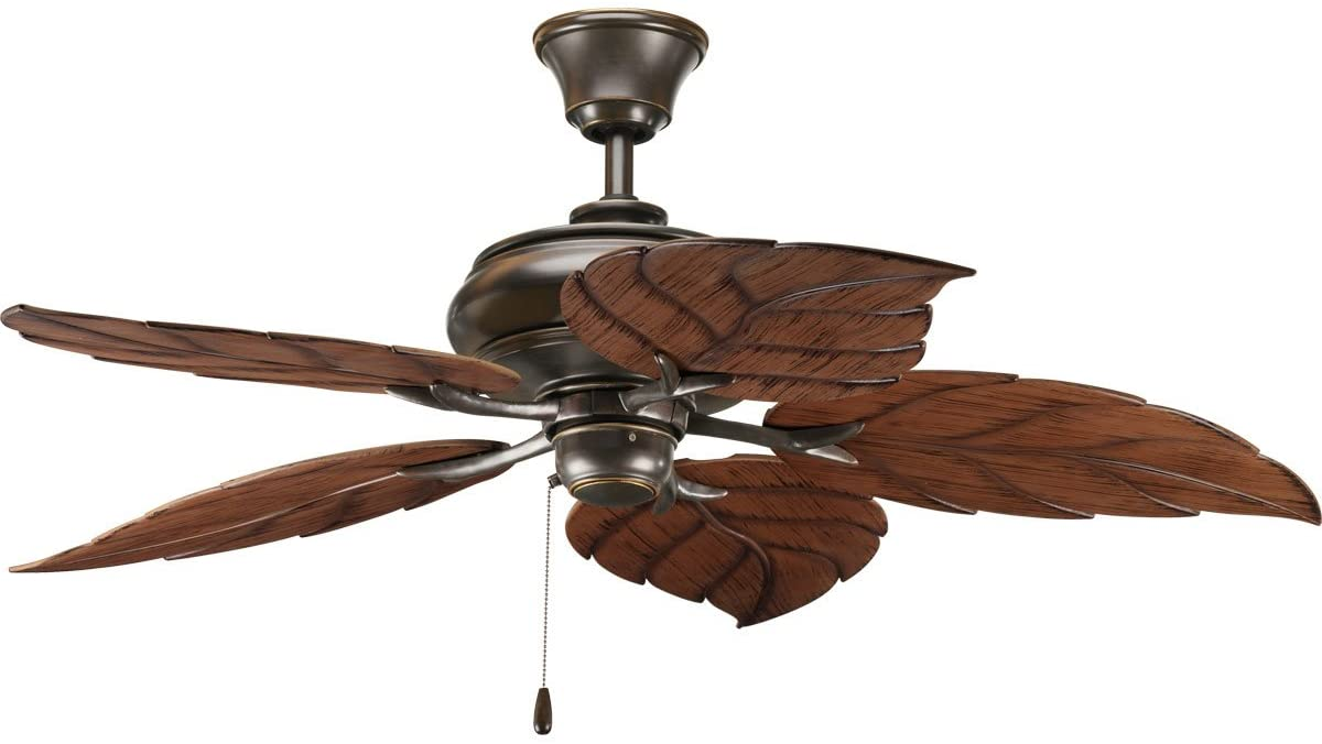 Progress Lighting P2526-20 Downrod Mount, 5 Wood Finish Blades Ceiling fan, Antique Bronze