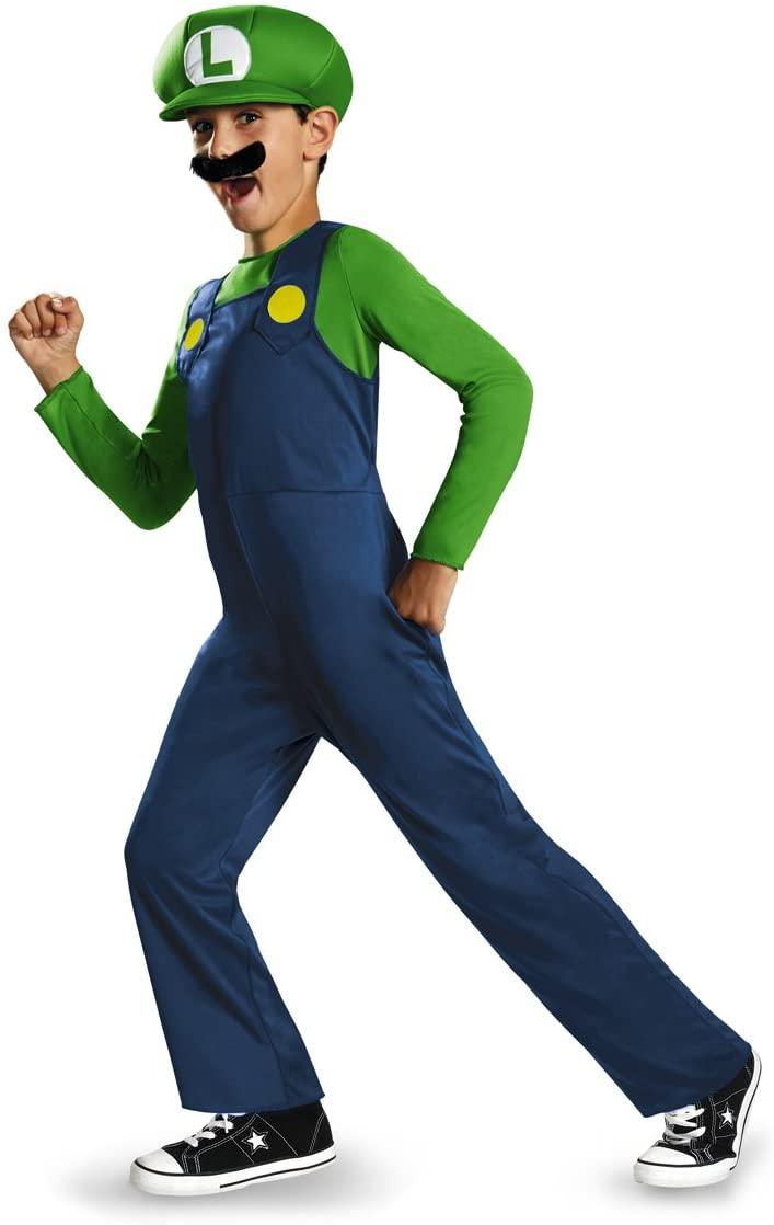 Nintendo Super Mario Brothers Luigi Classic Boys Costume, XS/3T-4T