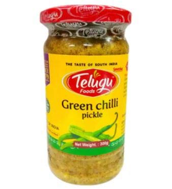 #RT Telugu Green Chilli Pickle 300g -Telugu Foods Green Chilli Pickle is prepared using the world's finest green chilies. It also has spices, salt, refined peanut oil, lime juice and acetic acid.
