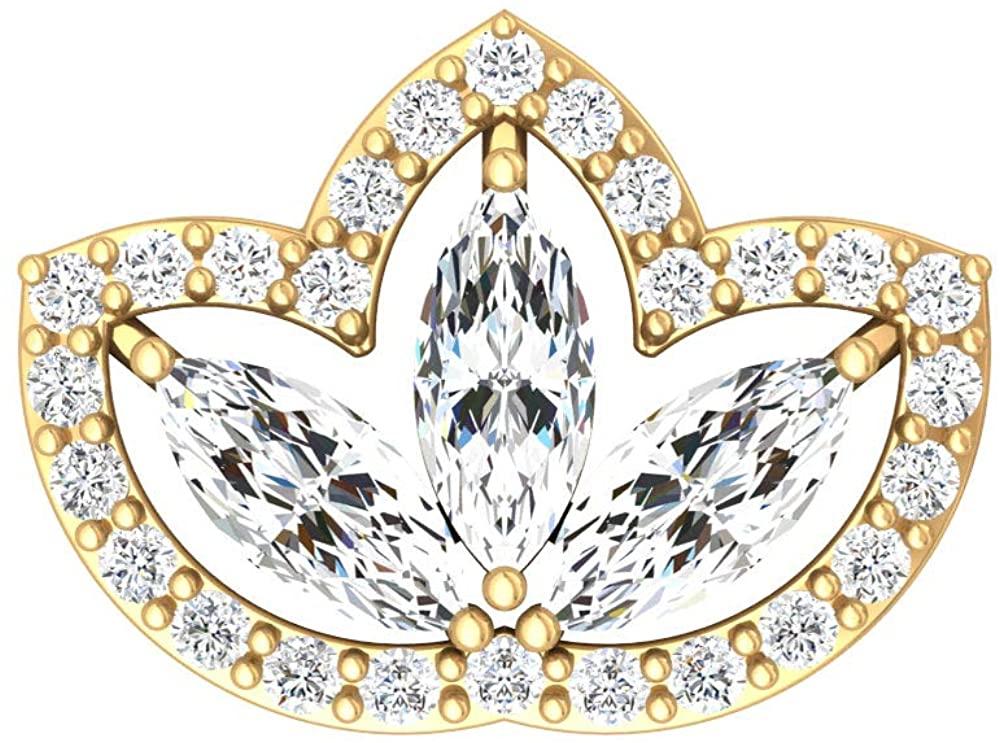 Art Deco Cartilage Earring, SGL Certified 0.31 Ct Marquise Shape Diamond Earring, Halo Climber Earring, Body Jewellery, Crawler Earring, Body Jewellery, Single Piece, 10K Gold