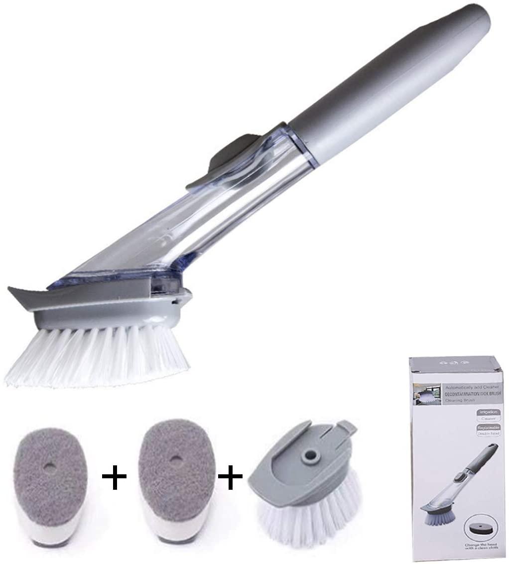 Kitchen Cleaning Brush,Automatic Adding Liquid Multi-Functional Long Handle Hydraulic Brush,Soap Dispensing Dish Brush Wash Pot, Bowl, Dish (1 x Fill handle+2 x brush+2 x Sponge brush)
