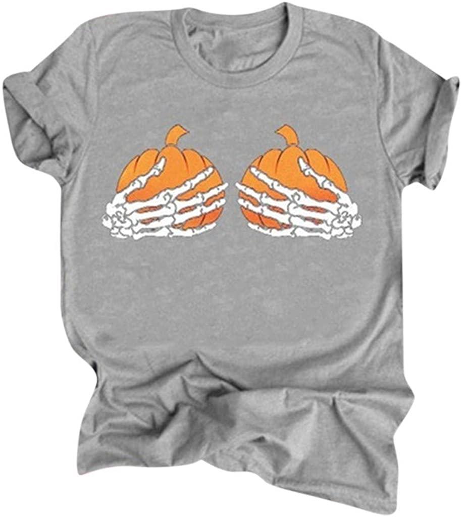 F_topbu Halloween T-Shirt for Women O-Neck Short Sleeve Tees Pumpkin Skull Print Tops Casual Loose Blouse Shirts