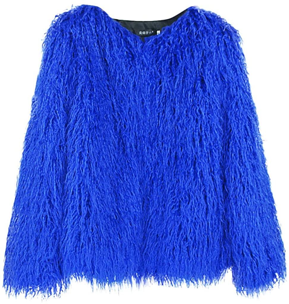 LENXH Ladies' Autumn and Winter Warm Jacket Short Plush Jacket Long Sleeve Loose Coat Fashion Casual Outwear