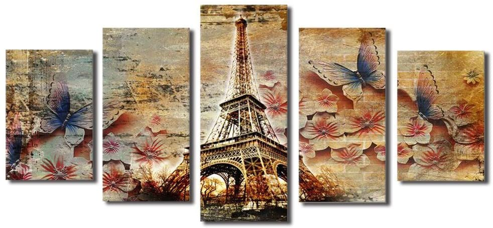Elewlorn Modern Wall Art Brown Paris Eiffel Towel Decor Butterlies on Flowers Paintings Poster Prints on Canvas Unframed for Living Room