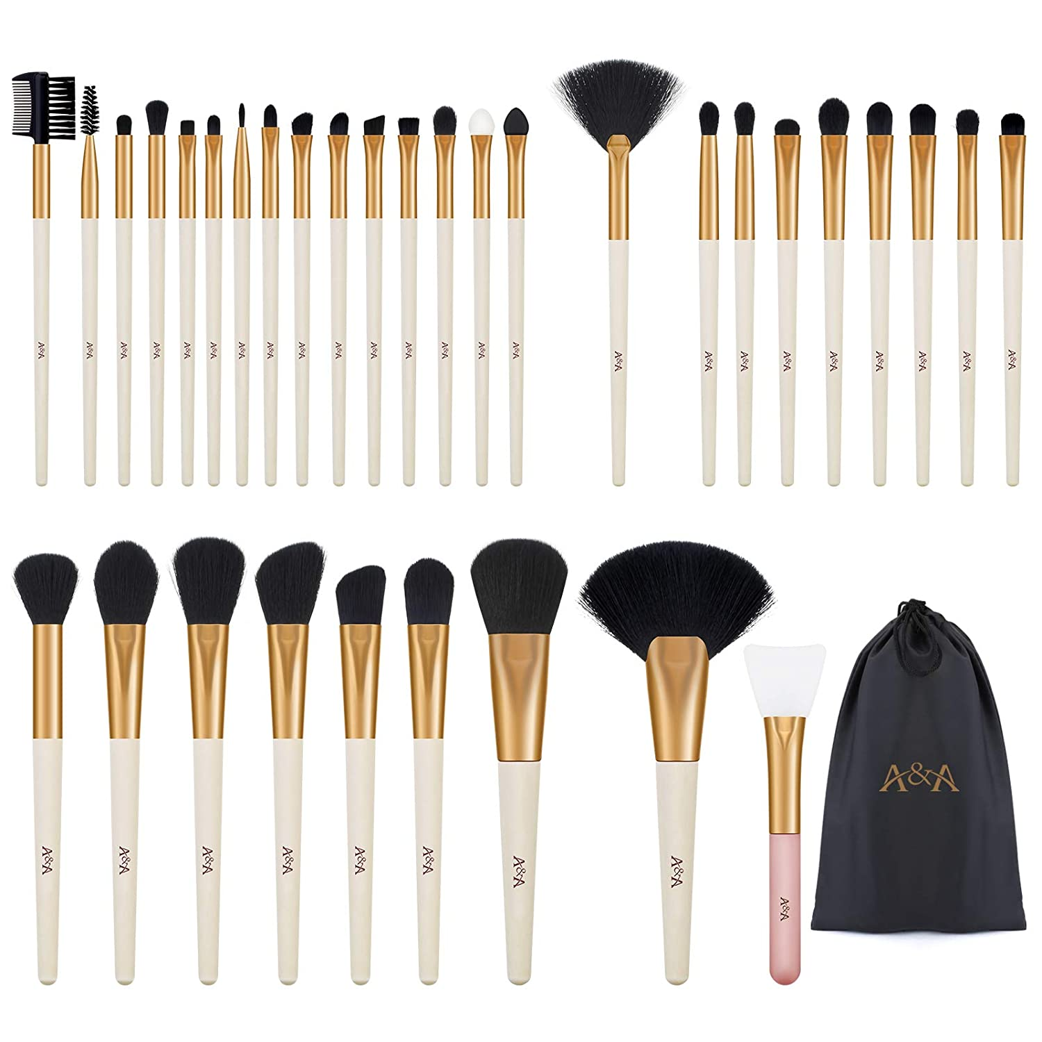 Makeup Brushes Set - Professional Cosmetic Tools 33 Pcs is Made of Premium Synthetic Fiber and Solid Wood Handle Incarnadine Rose Gold